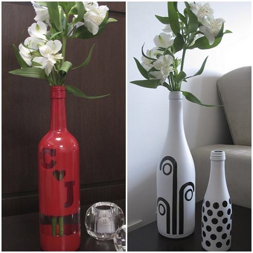 garrafa pintada decorada utilizando contact letras