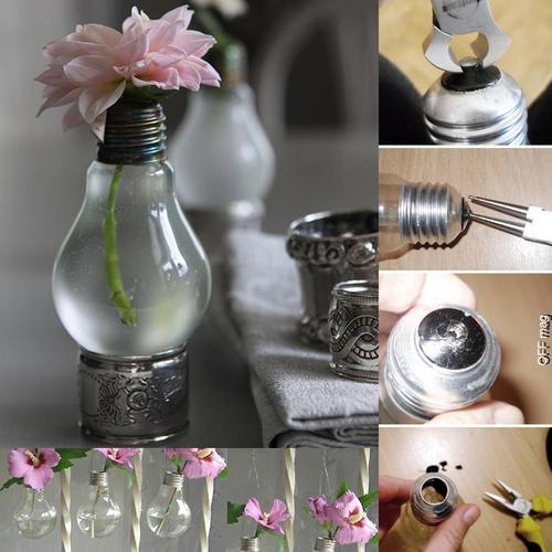transformando a lampada em vaso de flor