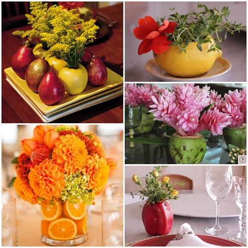 vaso flores com frutas