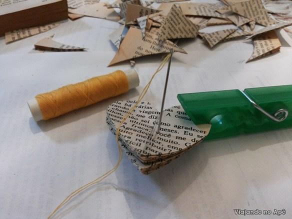 coraçao papel costura com linha