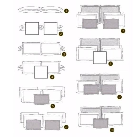 como dispor arrumar almofadas travesseiros na cama