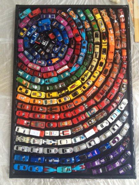 hot wheels quadro decoracao com brinquedo