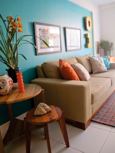 decoracao sala parede colorida