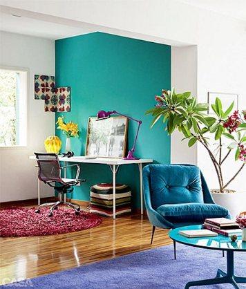 parede azul com branco decoracao home office