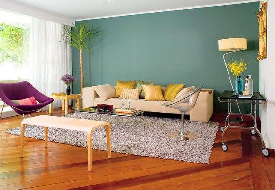 parede azul verde sala decoracao