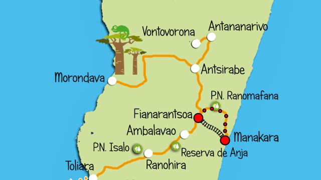 mapa Manakara Antsirabe