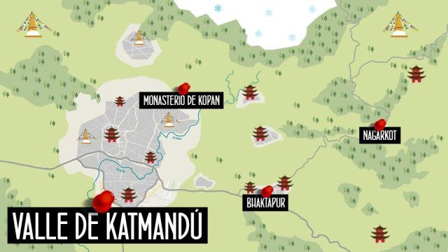 Mapa valle Katmandu