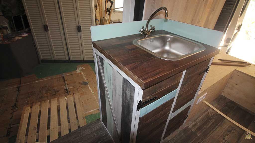 mueble fregadero rústico para furgoneta camper