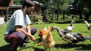 Juan, gallinas y patos. El Bolsón.