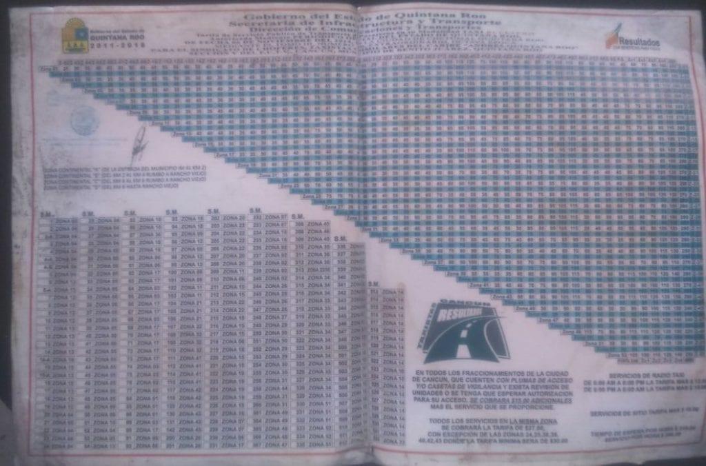 Ejemplo de tabla de tarifas de taxi oficial de Cancún
