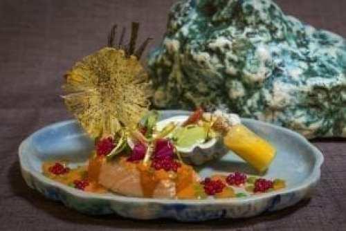 Plato de salmón servido en la cena en JOYÀ de Cirque du Soleil