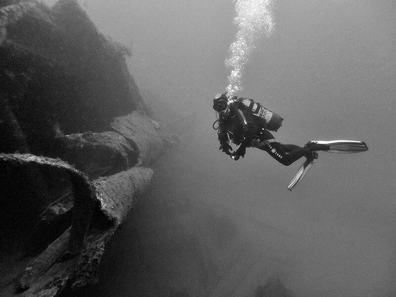 composicion foto submarina con pecios
