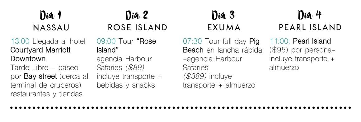itinierario para 4 días en Nassau Bahamas tours actividades y qué hacer