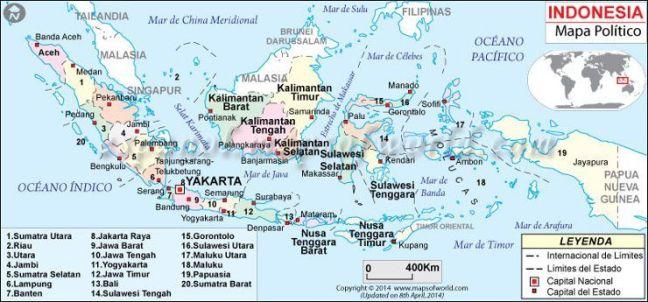 Indonesia-mapa-Politico