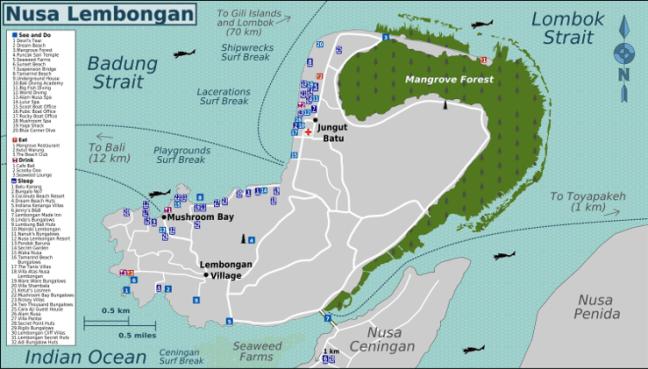 Mapa de Nusa Lembongan
