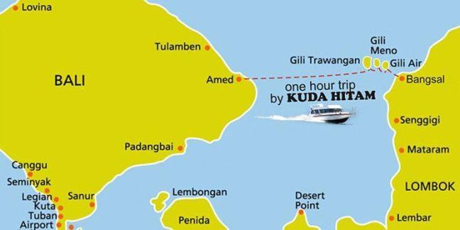 Ruta barcos rápidos Amed Islas Gili