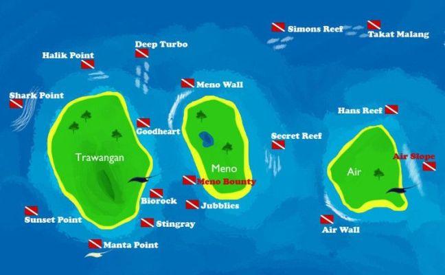 Mapa de buceo y snorkeling islas Gili