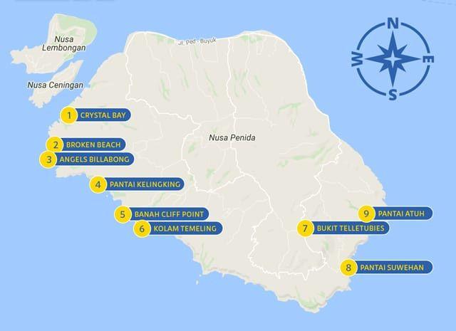 Mapa Turistico Nusa Penida