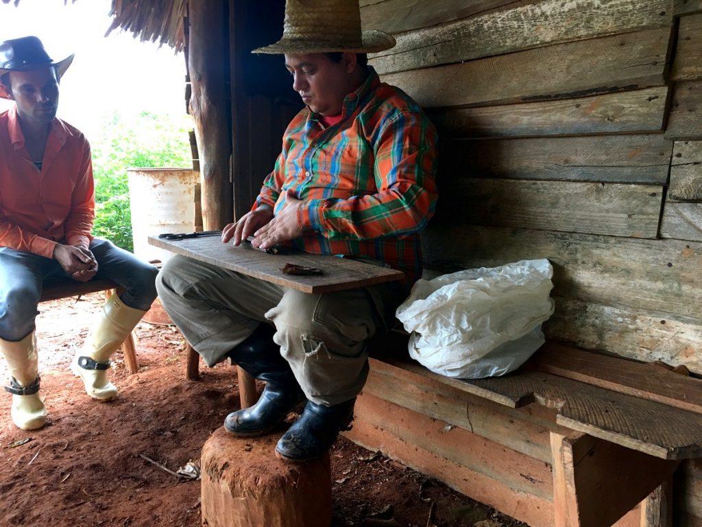 El productor liando puros en Viñales