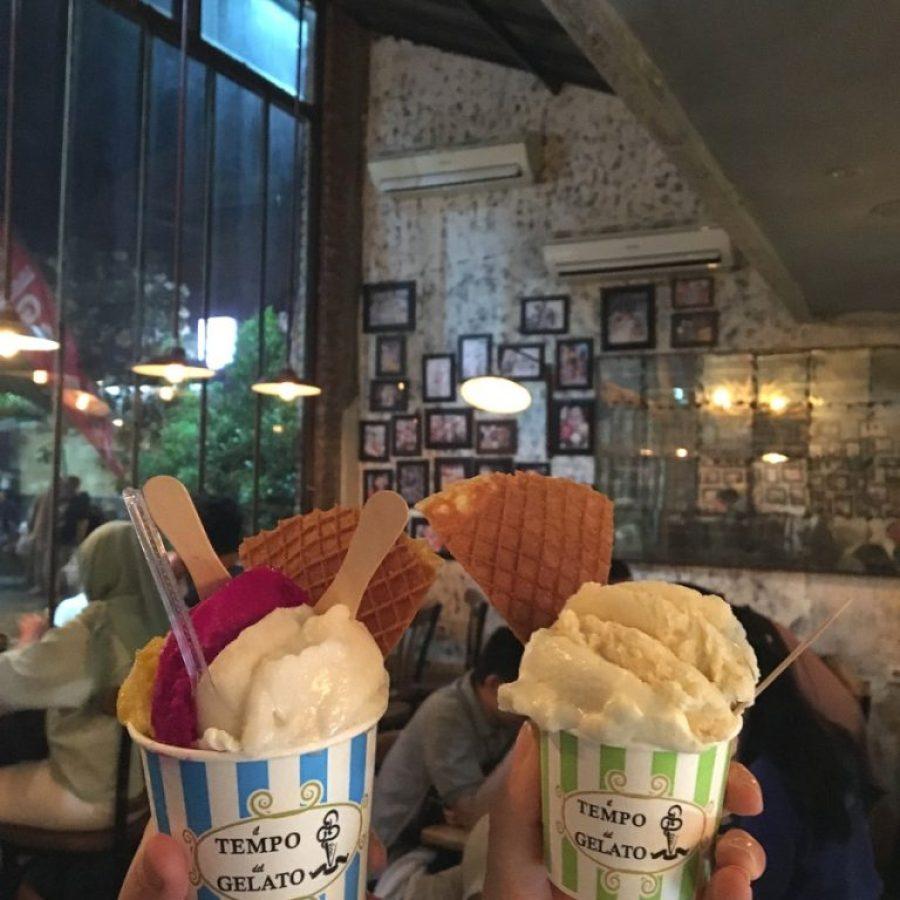 Los ríquismos helados del Tempo Gelato Prawirotaman, Yogyakarta