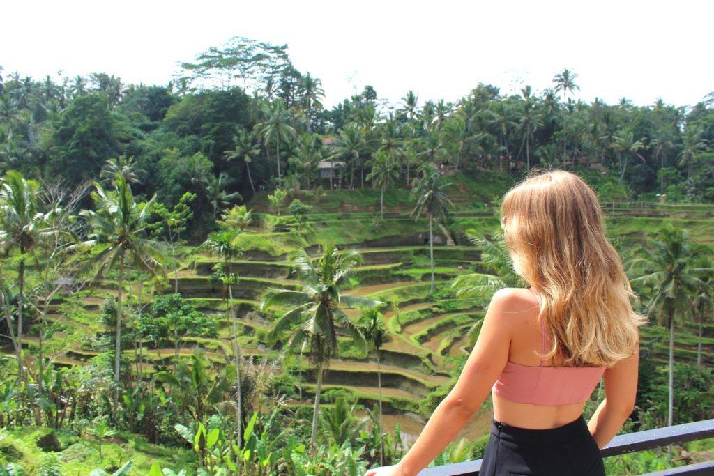 En un mirador de las terrazas de arroz de Tegallaland