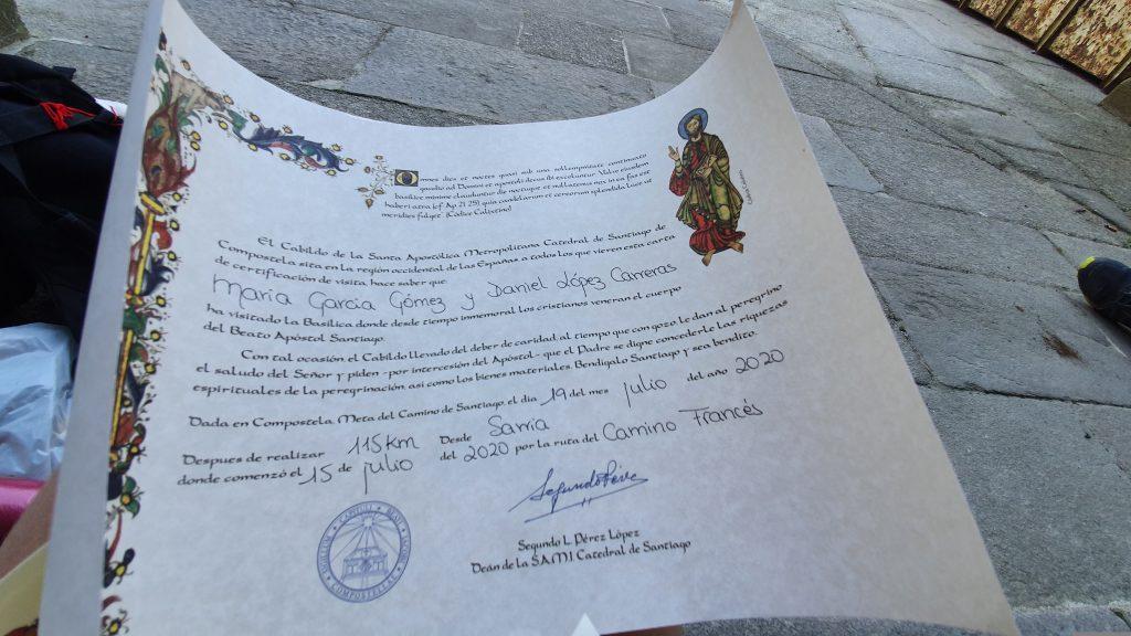 El certificado de distancia del Camino de Santiago