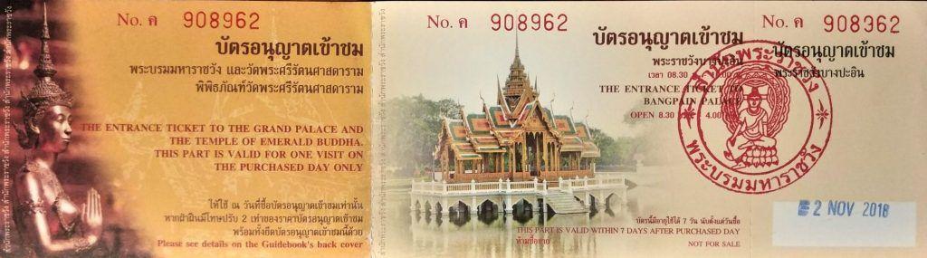 Entrada Gran Palacio Bangkok y Bang Pa In