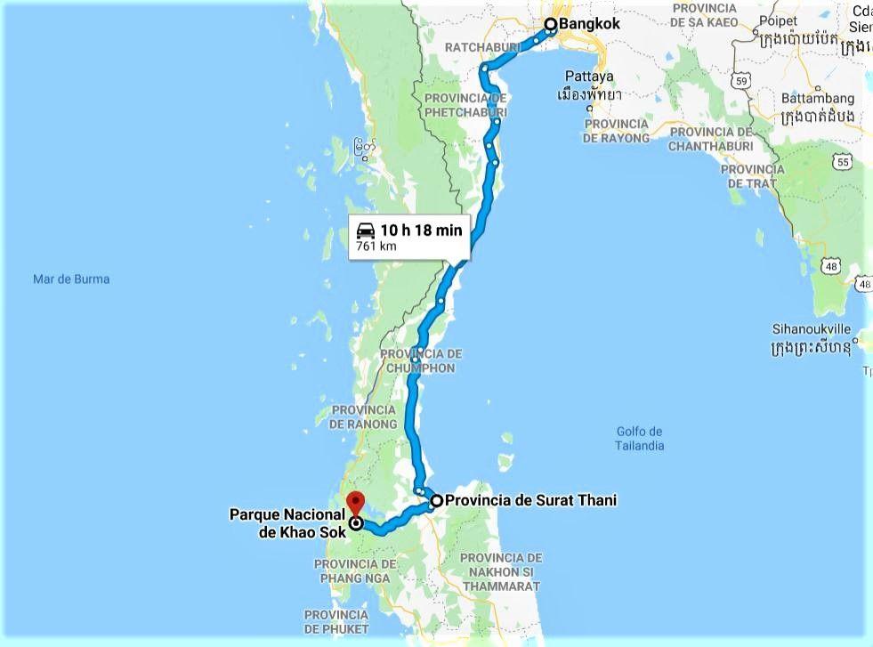 Mapa Bangkok Khao Sok