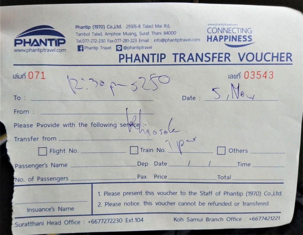 Ticket a Khao Sok