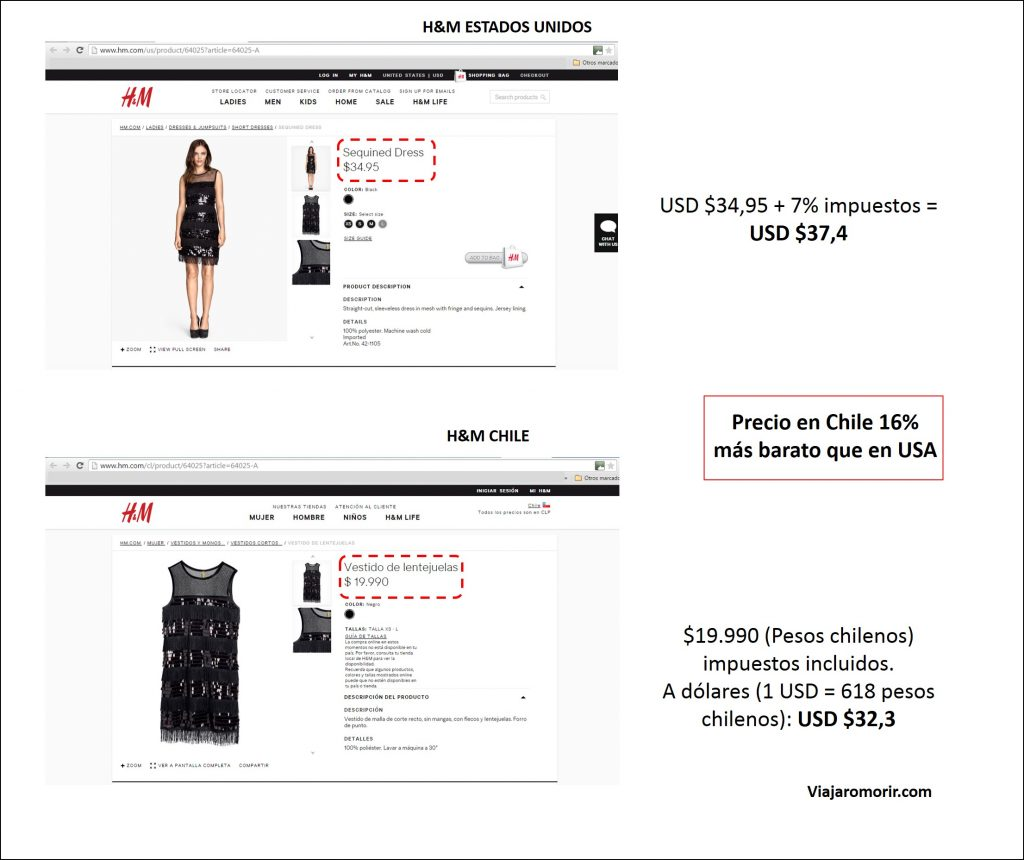 H&M Chile vestido negro de lentejuelas