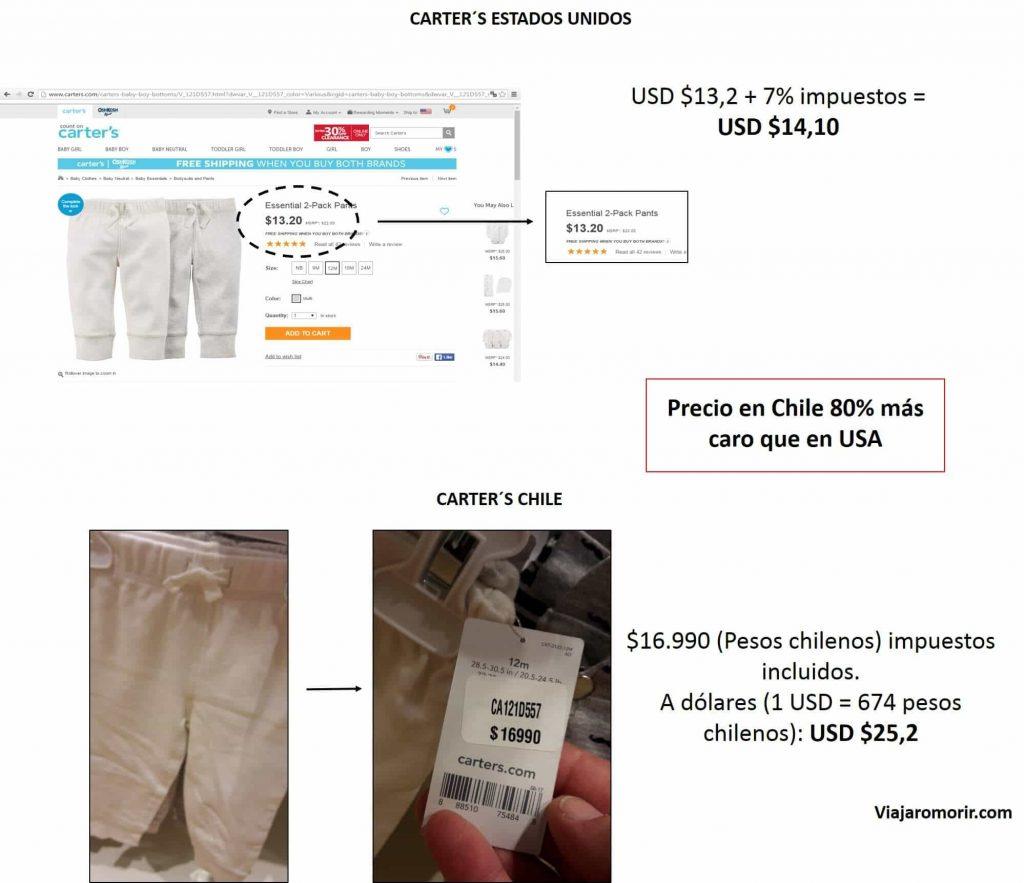 Carter´s Chile costanera mall precios ropa bebes