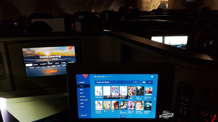 Cabine durante a noite - Classe Executiva Delta One do A330