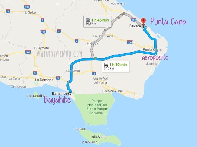 mapa punta cana a bayahibe