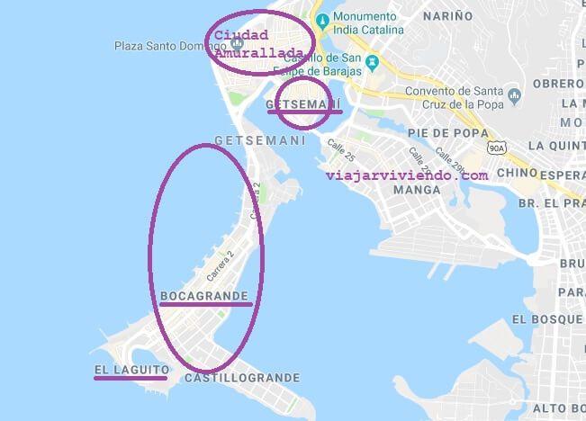 Mapa de Cartagena y las mejores zonas