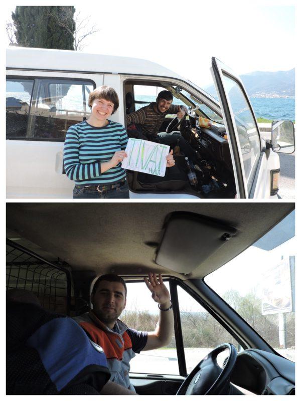 Las caras de la alegría autostop en Montenegro