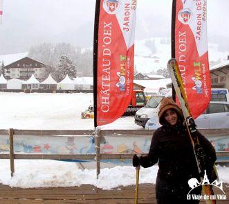 Intentando a aprender a esquiar en Château-d'Oex
