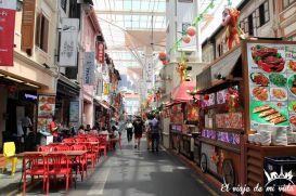 Puestos callejeros de comida en Chinatown