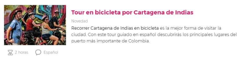 Tour en bicicleta por Cartagena de Indias