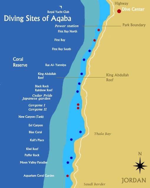 Mapa de la Escuela Internacional de buceo de Aqaba