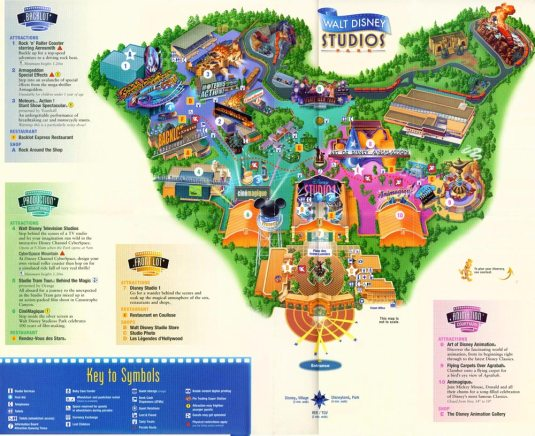 Mapa de Disney estudios Paris