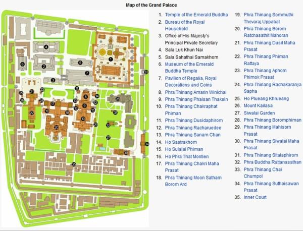 Mapa Palacio Real Bangkok