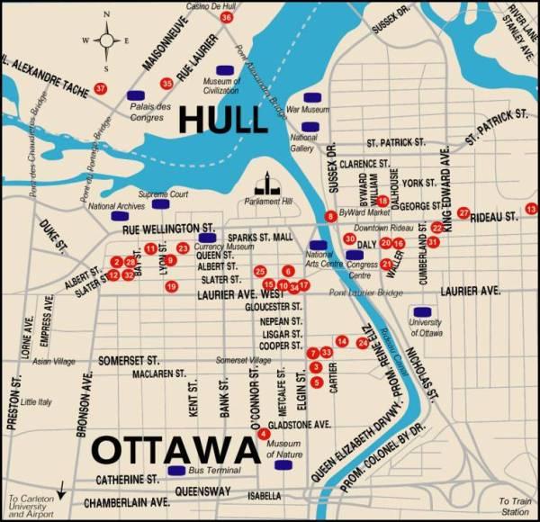 Mapa turismo Ottawa