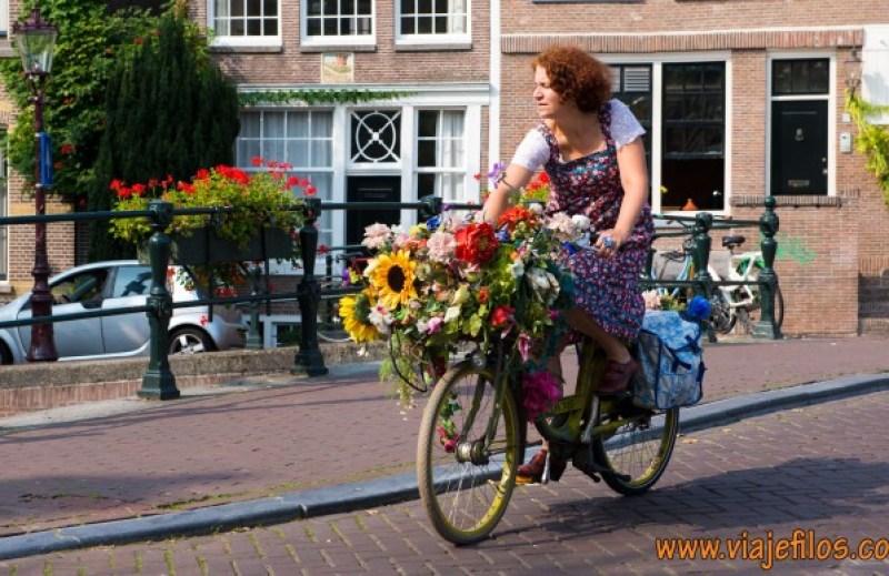 Bicicletas, flores, canales... eso es Amsterdam