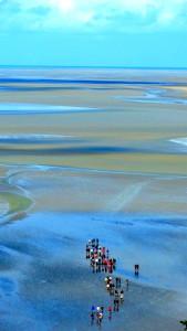 Passeio para cruzar o areial do Mont Saint Michel