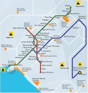 Mapa do Metro de Atenas
