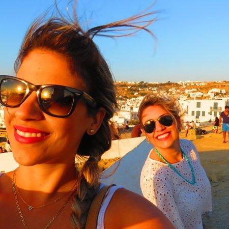 Por do sol nos moinhos de vento de Mykonos