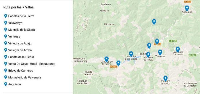 Mapa de ruta por las 7 Villas en La Rioja