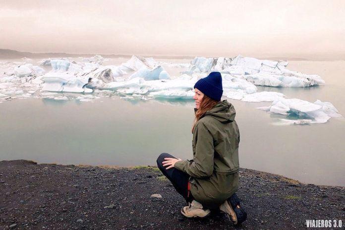 Rebeca Serna de Viajeros 3.0 en la laguna de Jokursalon