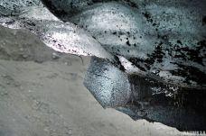 texturas y colores en una cueva de hielo en Islandia, cueva de Katla