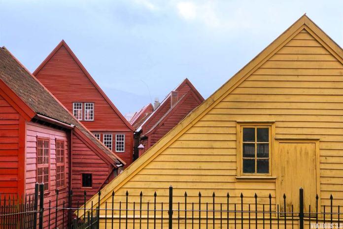 Barrio de Bryggen en el centro de Bergen